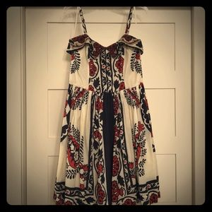 Anthropologie Print Dress with Beaded Collar